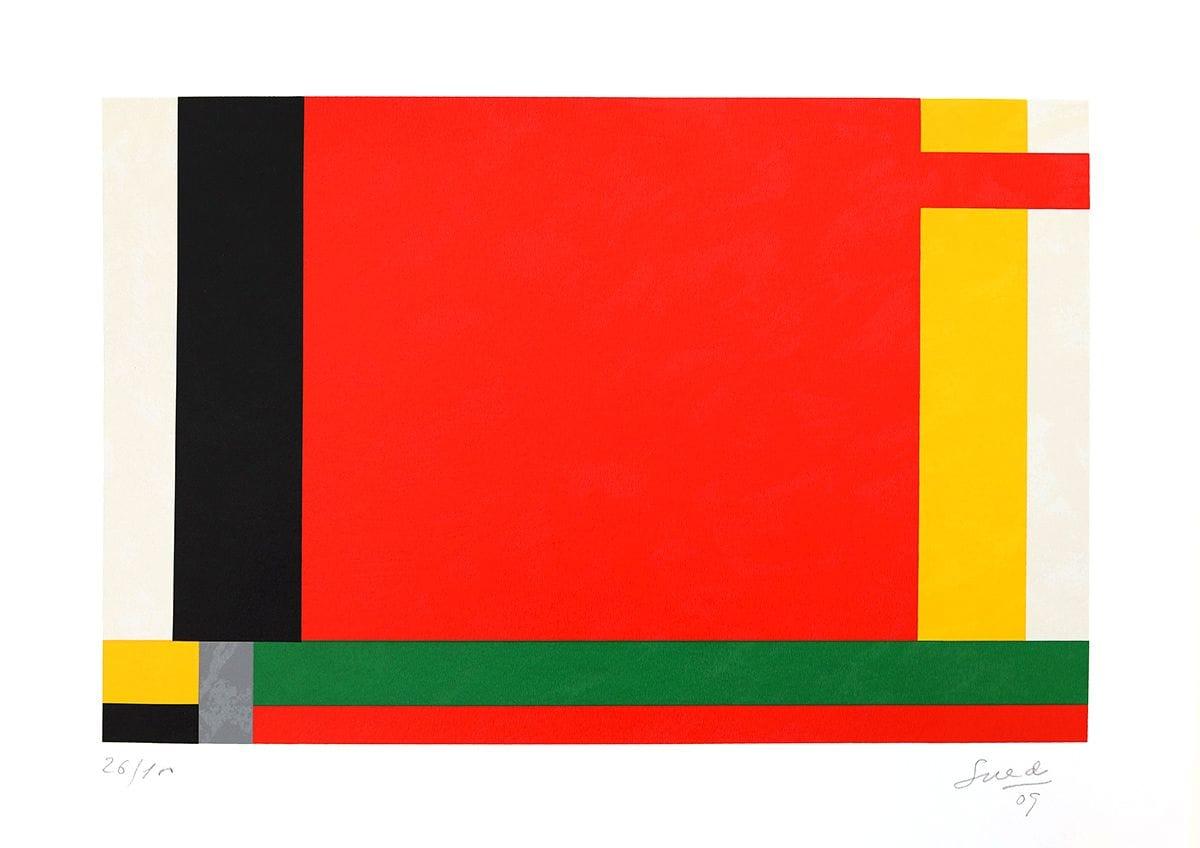 Abstração Geométrica em Vermelho