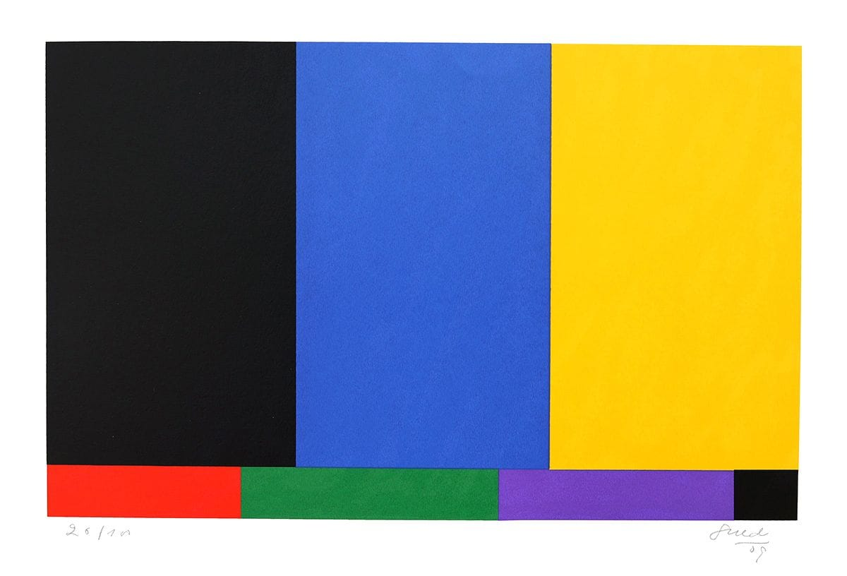 Abstração Geométrica em Preto, Azul e Amarelo
