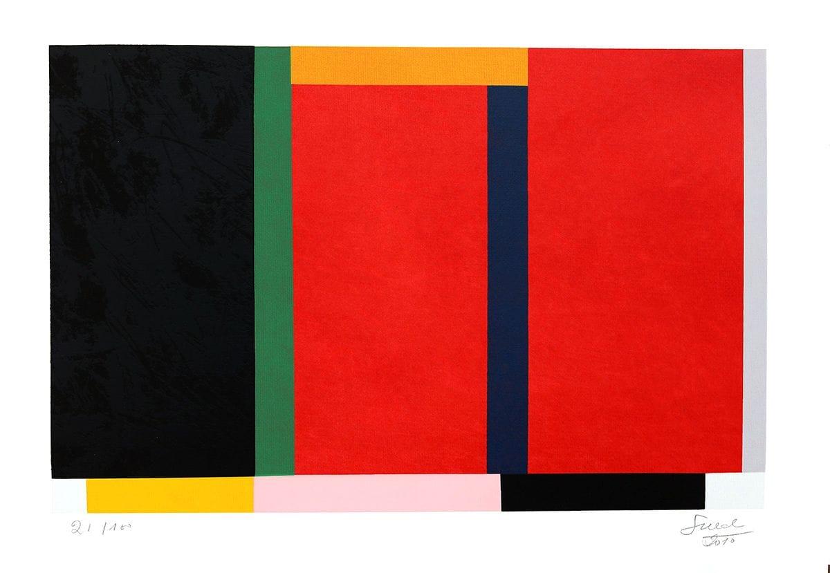 Abstração Geométrica em Preto e Vermelho