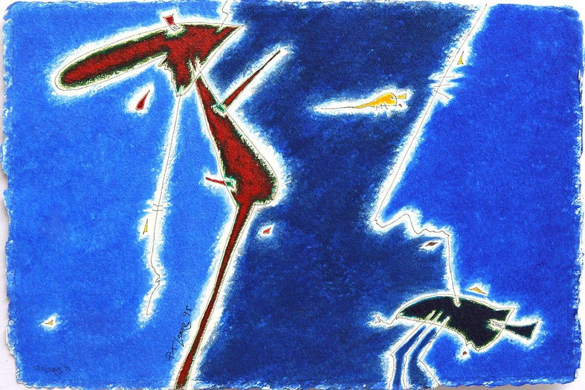Azul com figura terra